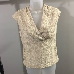 EYESHADOW   dressy cream color top with lace